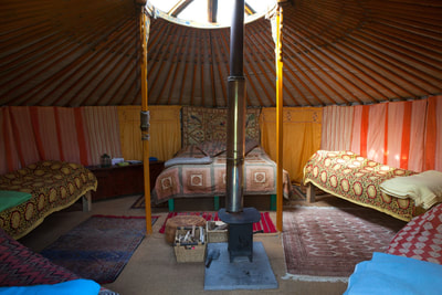 Ethnic furnishings, yurt glamping, luxury camping