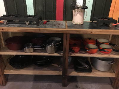 camp kitchen gas stove barn cooking